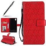 Uposao Hülle Kompatibel mit Sony Xperia XA1 Plus Handyhülle, Retro Blumen Handytasche Bookstyle Klappbar Flip Hülle Brieftasche Lederhülle Leder Handy Schutzhülle mit Magnetverschluss,Rot