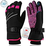 MOREOK Winter Gloves,Waterproof & Windproof Thermal Gloves -30°F 3M Thinsulate Touch Screen Warm Glove or Driving Cycling Running Outdoor Sports Unisex Pink-XS