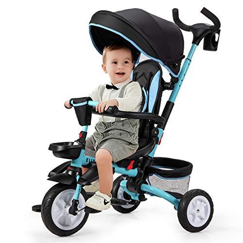 COSTWAY 6-in-1 Kinderdreirad mit verstellbarem & abnehmbarem Dach, Sicherheitsgurt, Kinder Dreirad mit Schubstange, Klapppedal und Aufbewahrungstasche für Kinder im Alter von 12-50 Monaten (Blau)