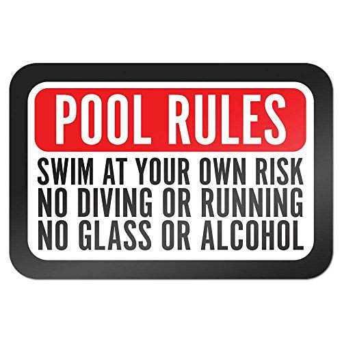 "Metallschild ""Pool Rules Swim at Own Risk No Diving Running Glass Alcohol"", 20,3 x 30,5 cm"