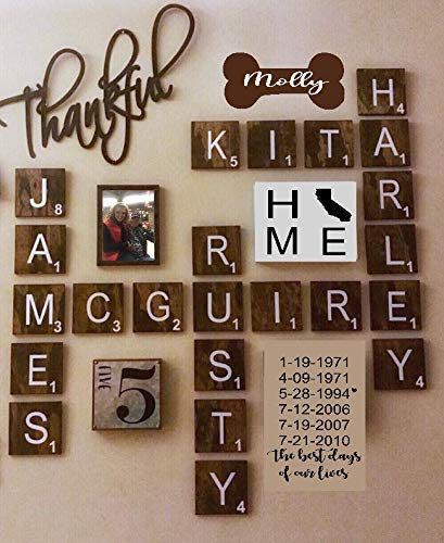 Large Scrabble 5 x 5 Tiles, Wooden Wall Ready to Hang Tiles, Wall Decor, Farmhouse Style, Scrabble Pieces, Personalized Sign, Wooden Letters