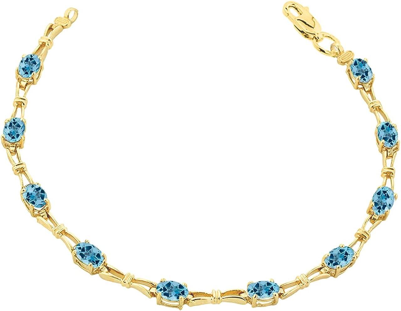 BLUE TOPAZ GEMSTONE TENNIS BRACELET IN YELLOW GOLD - Gold Purity