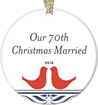 Our 70th Christmas Married 2019 Ornament Dated Mom & Dad Grandparents 70 Year Platinum Marriage Celebration Cute Love Birds Decor Wedding Anniversary Gift Ideas Holiday Present 3