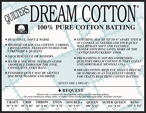 Quilter's Dream Request Light Batting for Quilting (All Sizes) (White, King)