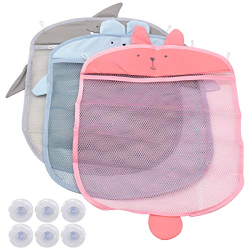 Bath Toy Storage Net Organizer,Guador 3 Pcs Bath Toy Hanging Organizer Set Mold Proofing Toy Net with 6 Pcs Strong Suction Cups Hooks Adhesive Hooks