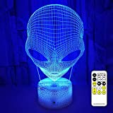 Goodking Alien 3D Night Lights for Kids, 3D Optical Illusion Lamp 7 Colors Changing Nightlight with Smart Touch & Remote Control, Best Birthday Gifts for Boys Girls Kids Baby