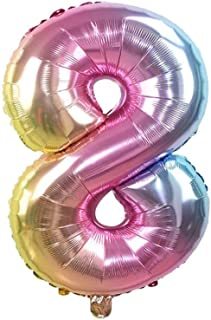 The Party Popper Number 8 Balloons, 40 inch Length, Rainbow