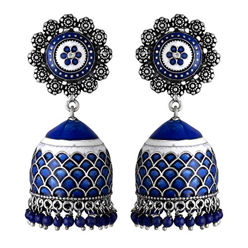 Aheli Intricate Floral Design Crafted Ethnic Wedding Wear Silver Tone Oxidize Enamel Jhumki Dangle Earrings Indian Ethnic Fashion Jewelry for Women