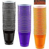 18 oz Party Cups, 96 Count - Black, Purple, Pumpkin Orange - 32 Each Color
