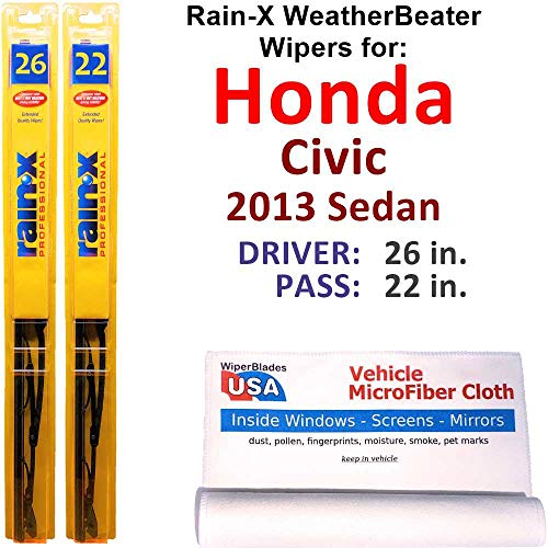 Rain-X WeatherBeater Wiper Blades for 2013 Honda Civic Sedan Set Rain-X WeatherBeater Conventional Blades Wipers Set Bundled with MicroFiber Interior Car Cloth