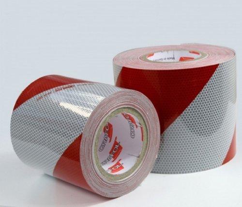 Orafol Kfz-Warnmarkierung, weiss/rot, 141 mm breit, 1 Meter, linksweisend