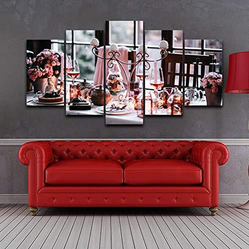 LPHMMD Leinwand Gemälde Leinwandbilder Gemälde Wohnkultur 5 Stück Schöne Geschirr Poster Modulare Küche Wandkunst R aurant Pictures