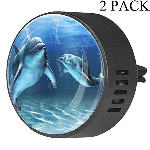 Yuzheng U-Boot-Delphin 2 Stück Kristallglas Autodiffusor Entlüftungsclip Aromatherapie Erfrischer Reiniger Autodiffusor Medaillons für Ehefrau Ehemann Vater Frangipani