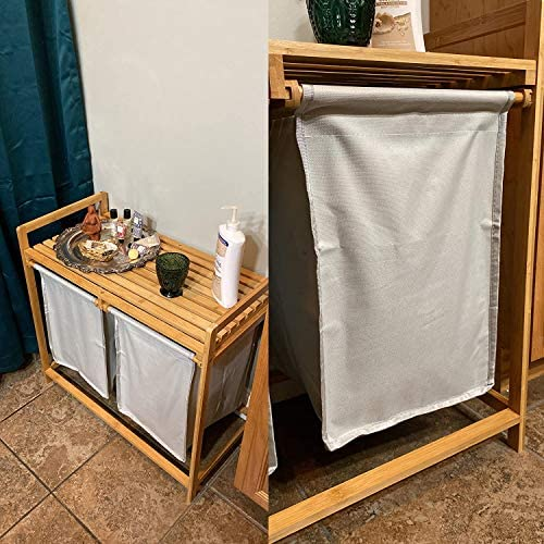 tonchean Bamboo Laundry Hamper and Shelf 2 Sections Laundry Basket with Removable Sliding Liners product image