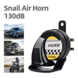 Universal 12V Snail Horn Siren 130DB High Tone 510HZ Waterproof Electric Air Horn for Motorcycle Auto Car Scooter(Black)