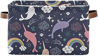Doshine Panier de rangement pliable avec poignées Motif animaux marins Arc-en-ciel Grande boîte de rangement Cube de range...