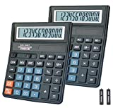 Basic Calculator,BESTWYA 12-Digit Dual Power Handheld Desktop Calculator with Large LCD Display Big Sensitive Button (Black, Pack of 2)