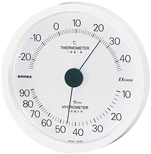 エンペックス気象計 温度湿度計 エクシード温湿度計 壁掛け用 日本製 ホワイト TM-2301