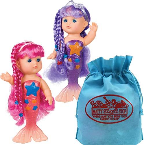 Toysmith Magical Mermaid Bathtime Dolls (9') Pink & Purple Gift Set Bundle Bonus Matty's Toy Stop Storage Bag - 2 Pack