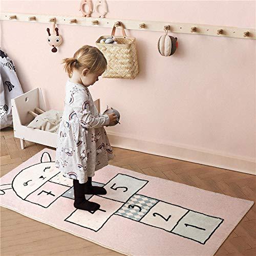Kinderteppich Spielteppich Kinderzimmer Rug Reizendes Kaninchen Hopse Rosa Niedliche Motive Moderne Babyteppich für Schlafzimmer,Wohnzimmer,Grösse:150×170CM