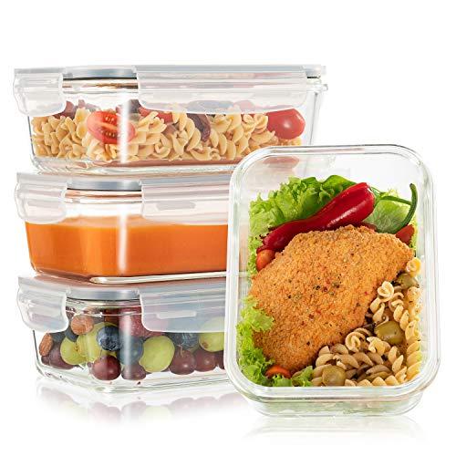 Lot de 4 Boite Repas Verre Lunch Box, Contenance 880mL 1 grand compartiment - Boite Repas Bento Box en Verre et sans BPA - Meal Prep Cuisson, Conservation, Congelation Alimentaire