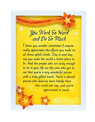 Blue Mountain Arts Miniature Easel Print with Magnet 'You Work So Hard and Do So Much' 4.9 x 3.6 in, Perfect 'Thank You' Gift to Express Gratitude and Appreciation