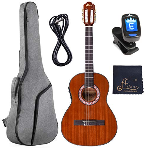 WINZZ 36 Inches 3/4 Size Nylon-string Classical Electric Acoustic Guitar for Beginners Students Kids...