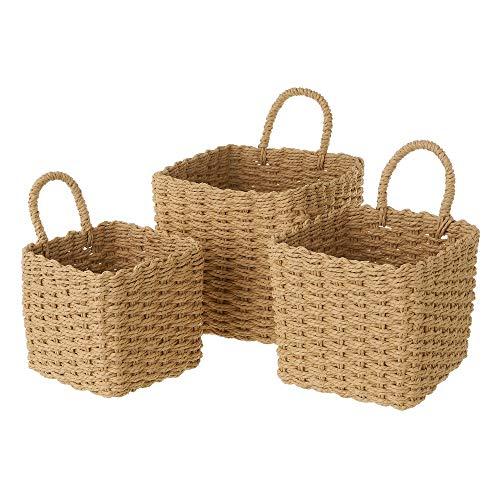 Set de 3 cestas de Fibra de Papel Beige cuadradas con asa - LOLAhome