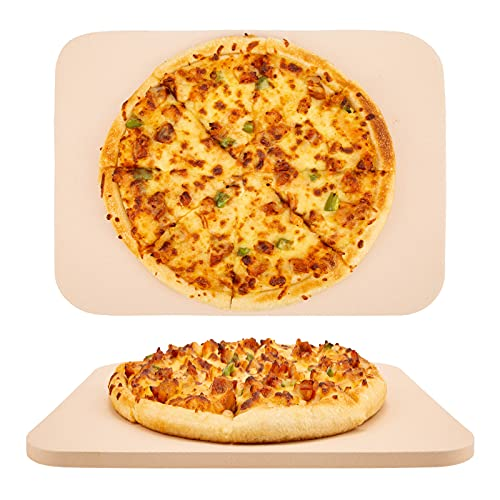 14.9 x 11.8 inch Pizza Stone for Oven and Grill, Bread Baking Stone, Heavy Duty Ceramic Pizza Pan, Thermal Shock Resistant Baking Stone for BBQ and Grill, Making Pizza, Bread, Cookie and More