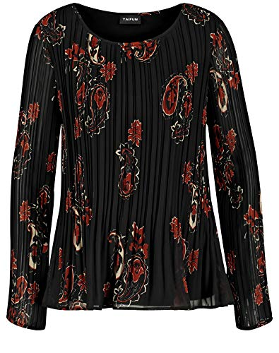 Taifun dames plissé-blouse casual, eenvoudig uitgezet