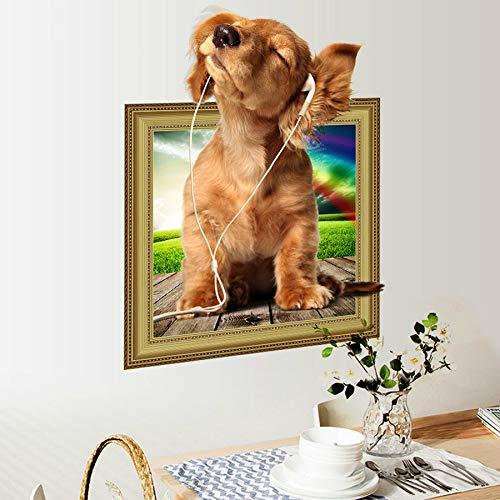 Simpatici animali Cane Cucciolo 3d Adesivi murali Decorazioni per la casa Soggiorno Carta da parati Adesivo per camera dei bambini Frigorifero 40x50cm