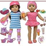 The New York Doll Collection- Patines de Ruedas Ropa 45 cm Pulgadas: el Juego Adapta a American Girl Dolls Incluye el Conjunto Traje de baño Accesorios DE MUÑECAS (E162)