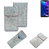 K-S-Trade Handy Schutz Hülle Für Allview Soul X5 Pro Schutzhülle Handyhülle Filztasche Pouch Tasche Hülle Sleeve Filzhülle Hellgrau Roter Rand