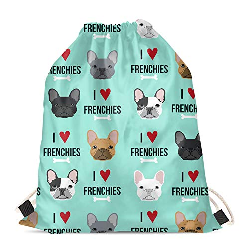 Mumeson French Bulldog Pattern Drawstring Backpack Gym Bags Outdoor Travel Sport Casual Rucksack Gifts for Kids Women Men