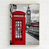 jzxjzx London Red Bus Cabina telefónica Paris Umbrella Poster Nordic Black White Wall Art Pictures para la decoración de la Sala Decoración del hogar