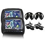 """Elinz 2x 9"""" Black Touch Screen Car Headrest DVD Player Monitor Pillow 1080P"""