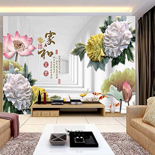 Fotobehang muur Muralscustom Wallpaper Factory Price aangepaste Wallpaper muurschildering Chinese patroon Scenery met pioen Lotus achter bank als achtergrond woonkamer 200 * 140cm