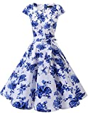 Boat Neck 1960s Pinup Vintage Dresses Sleeveless White Blue Flower 3XL