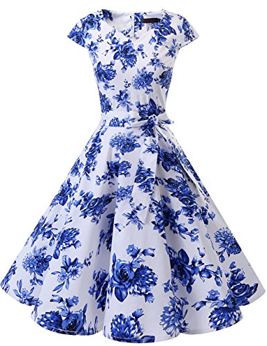 Dresstells Damen Vintage 50er Cap Sleeves Rockabilly Swing Kleider Retro Hepburn Stil Cocktailkleid White Blue Flower M