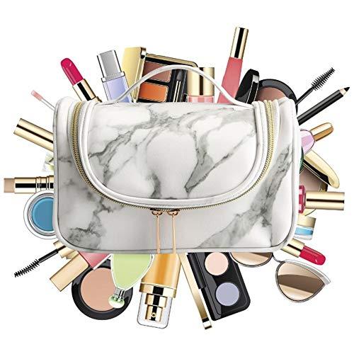 happygirr Neceser de maquillaje dorado jaspeado, bolsa de maquillaje para mujer, bolsa de aseo portátil de viaje, bolsa de aseo con gran capacidad para niñas mujeres y mujeres