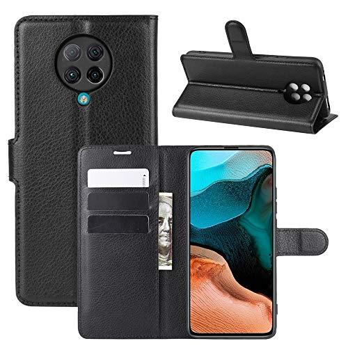 HongMan Handyhülle für Xiaomi Poco F2 Pro 5G Hülle, Premium Leder PU Flip Hülle Wallet Lederhülle Klapphülle Magnetisch Silikon Bumper Schutzhülle Tasche mit Kartenfach Geld Slot Ständer, Schwarz