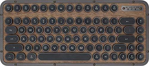 AZIO Retro Teclado compacto, R.C.K. ELWOOD, teclado mecánico Bluetooth móvil con reposamanos a juego, apariencia vintage, diseño español