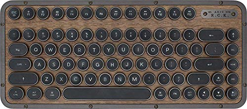 AZIO, Retro Compact Keyboard, R.C.K. ELWOOD, mechanische mobile Bluetooth-Tastatur mit passender Handballenauflage, Vintage-Look, deutsches Layout