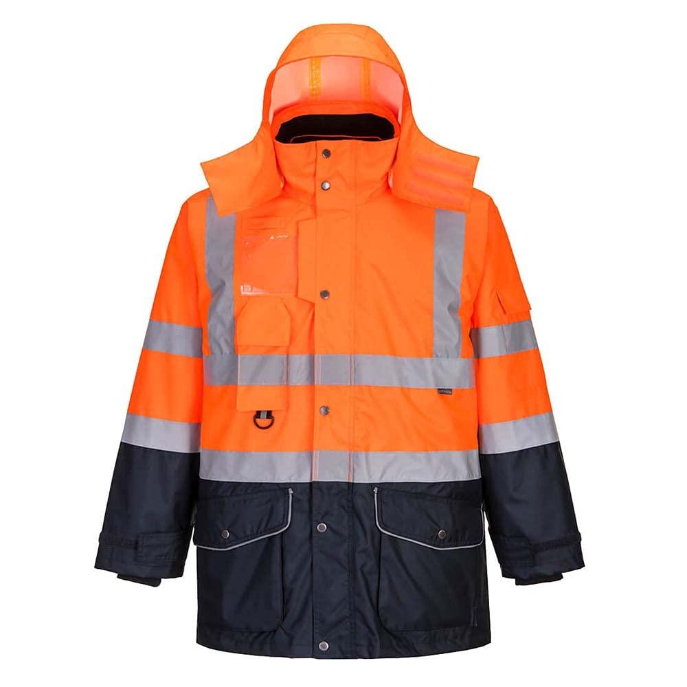 Portwest Workwear Mens Hi-Vis 7in1 Contrast Jacket OrNa Large