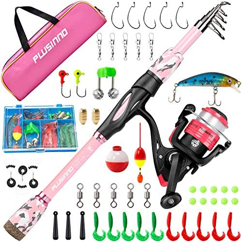 PLUSINNO Kids Fishing Pole Portable Telescopic Fishing Rod and Reel Combo Kit with Spinning product image