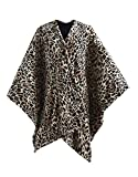 MP2 Fleece Heated Blanket Wrap Shawl, Wearable Electric Poncho Throw with Buttons, 3 Heating Settings & 2 Hours Auto Shut Off, 50'x 64' Leopard