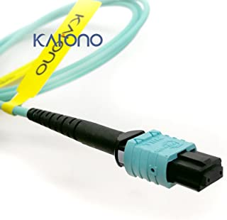Karono MPO-MPO Fiber Optic Patch Cable, Type B OM3 33 ft (10M) Multimode Fiber, 8 Cores Fiber for QSFP+Transceivers MTP Compatible Cabling System, Patch Panel Cabinet, FTTH, EPON Application, Aqua