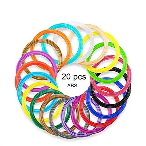 SUNLU 3D Pen Filament 1.75mm ABS- 3D Pen Refills (20 Colors, 16.4 Feet Each), 3D Printer Filament for 3D Print Pen