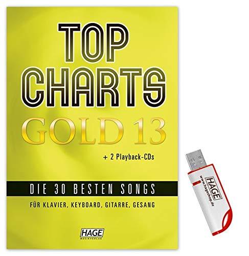 Top Charts Gold 13 (mit 2 CDs + Midifiles, USB-Stick): Die 30 besten Songs für Klavier, Keyboard, Gitarre und Gesang.