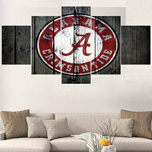 Loveygg Leinwandbild 5 Teilig Foto Leinwanddruck Bild Wohnzimmer Bild Auf Leinwand Vlies Wandbild Kunstdruck Design Wand Art-Alabama Crimson Tide Logo Kinofilm,150x80cm